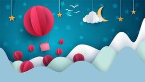 Air balloon illustration. Cartoon paper landscape. Vector eps 10 Stock Image