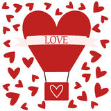 Air Balloon with Love. Vector air balloon with love on special day or holiday card Stock Images