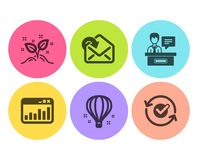 Air balloon, Marketing statistics and Exhibitors icons set. Receive mail, Startup concept and Approved signs. Vector. Air balloon, Marketing statistics and stock illustration