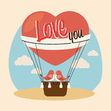 Air balloon over beige background vector illustration Royalty Free Stock Images