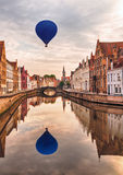 Air balloon over  Bruges Stock Images