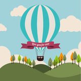 Air balloon over landscape background vector illustration Stock Photos