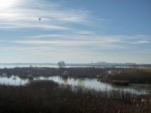 Air balloon over Mihailesti lake, near Bucharest, Romania. Mihailesti is a dam lake near Bucharest, Romania. It is built on Argeș river Stock Image