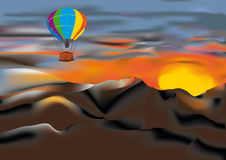 Air-balloon over the mountains Royalty Free Stock Photography