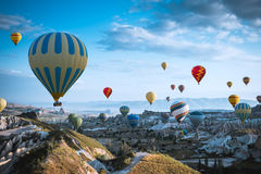Air balloon over poppies field Cappadocia, Turkey Royalty Free Stock Images