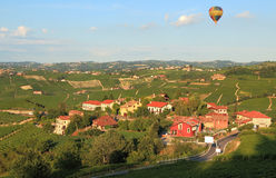 Air balloon over vineyards in italy. Royalty Free Stock Photography