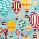 Air balloon pattern. Retro seamless travel pattern of balloons. Vector illustration Stock Photo