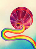 Air balloon with rainbow Royalty Free Stock Photography