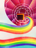 Air balloon with rainbow Stock Photo
