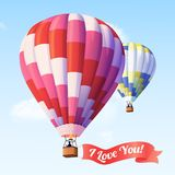 Air Balloon With Ribbon. With I love you text flying in blue sky vector illustration Royalty Free Stock Images