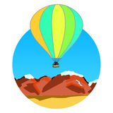 Air balloon on ridges Royalty Free Stock Images