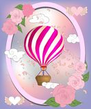 Air balloon with roses in the basket and ribbon with signature I really love you Valentines day illustration stock illustration