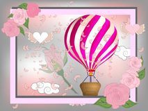 Air balloon with roses in the basket and ribbon with signature I really love you Valentines day illustration.  royalty free stock images