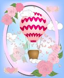 Air balloon with roses in the basket and ribbon with signature I really love you Valentines day illustration vector illustration