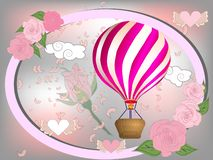 Air balloon with roses in the basket and ribbon with signature I really love you Valentines day illustration.  stock illustration