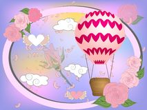 Air balloon with roses in the basket and ribbon with signature I really love you Valentines day illustration royalty free illustration
