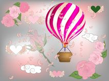 Air balloon with roses in the basket and ribbon with signature I really love you Valentines day illustration.  vector illustration