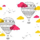 Air balloon seamless pattern Stock Photo