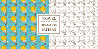 Air balloon seamless pattern. Thin line icon. Vector. Royalty Free Stock Image