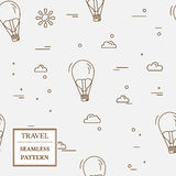 Air balloon seamless pattern. Thin line icon. Vector. Royalty Free Stock Photo
