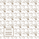 Air balloon seamless pattern. Thin line icon. Vector. Royalty Free Stock Images