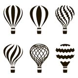 Air balloon set. Collection of monochrome hot air balloon icons Stock Photography