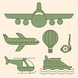 Ship, airplane vintage icons royalty free illustration