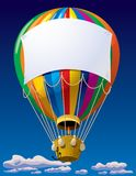 Air balloon in the sky. Isolated raster version of a vector air balloon with a banner in the sky Stock Photos