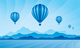 Air balloon in the sky. Vector skyline illustration Royalty Free Stock Images