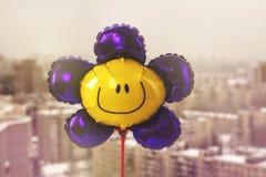 Air balloon with smiley face Royalty Free Stock Photos