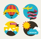 Air balloon, sun, and airplane backgrounds Stock Photos