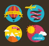 Air balloon, sun, and airplane backgrounds Royalty Free Stock Photography