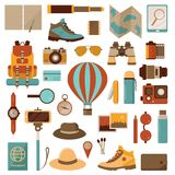 Air Balloon Travel Adventure Icons. Air balloon travel or expedition icons. Adventure, discovering and hiking kit. Air trip collection with backpacking and Stock Image
