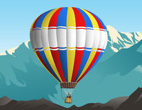 Air balloon trip. Illustration of an air balloon travelling in the sky. Mountains on the background Stock Photo