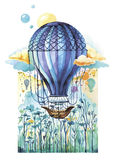 Air Balloon. Vector illustration of air balloon in fantasy landscape made in watercolor technique Stock Image