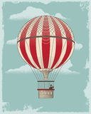 Air balloon. Vintage retro Hot Air Balloon. Textured vector design background Royalty Free Stock Images