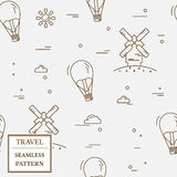 Air balloon and windmill travel seamless pattern. Thin line icon Royalty Free Stock Photography