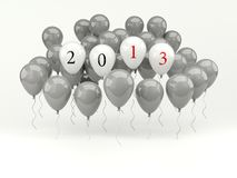 Air balloons with 2013 New Year sign. On white background vector illustration