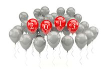 Air balloons with 2013 New Year sign. On white Stock Image
