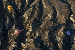 Air balloons above the mountains Stock Image
