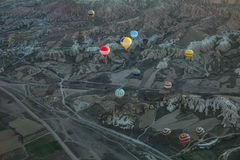 Air balloons above roads in valley Stock Images