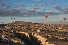 Air balloons above the valley Royalty Free Stock Image