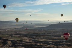 Air balloons above the valley Royalty Free Stock Images