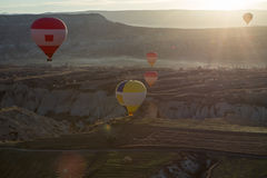 Air balloons above the valley Stock Photography