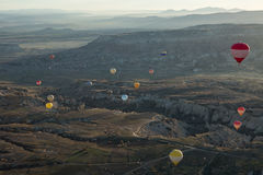 Air balloons above the valley Stock Image