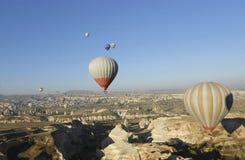 Air balloons and blue sky. Air Balloon in Cappadocia, Ancient Region of Anatolia stock photos