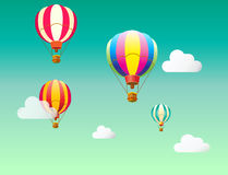 Hot Air balloons. Hot Air balloon festival flyer. Balloons Cartoon Flat design, Hot air balloon in the sky with clouds background. Air balloons, flying. Vector Stock Image