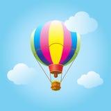 Hot air balloon sky clouds cartoon. Hot air balloon. Air balloon festival flyer. Cartoon Flat design, Hot air balloon flying in the sky with clouds background Stock Photos