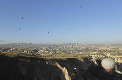 Air balloons, Bird`s eye view. Air Balloons in Cappadocia, Ancient Region of Anatolia, Bird`s Eye View stock photos
