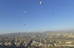 Air balloons, Bird`s eye view. Air Balloons in Cappadocia, Ancient Region of Anatolia, Bird`s Eye View Royalty Free Stock Images
